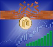 Neo coin breaks through the wall resistance. With growth chart on a blue background , the price of crypto currency is rising , vector image design concept Stock Photos