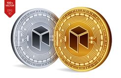 Neo. Crypto currency. 3D isometric Physical coins. Digital currency. Golden and silver coins with neo symbol isolated on white bac. Kground. Vector illustration Royalty Free Stock Photos