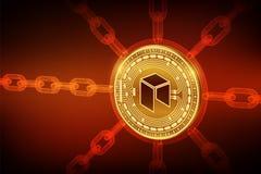 Neo Crypto waluta Blokowy łańcuch 3D isometric Fizyczna Neo moneta z wireframe łańcuchem Blockchain pojęcie _ ilustracja wektor