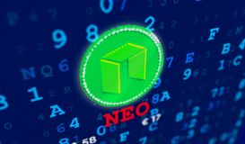 Neo currency coin and name royalty free stock photography