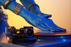Neo DJ. Hands and vinyl Royalty Free Stock Images