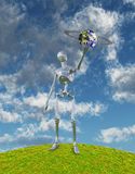 Neo Earth. Shiny Silver Robot Holds Up Alien Ringed Planet Royalty Free Stock Photo