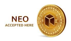 Neo Emblema accettato del segno Valuta cripto Moneta dorata con il simbolo neo isolata su fondo bianco 3D moneta fisica isometric Fotografie Stock Libere da Diritti