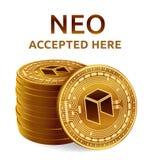Neo Emblema accettato del segno Valuta cripto Pila di monete dorate con il simbolo neo isolate su fondo bianco 3D Physi isometric Immagini Stock