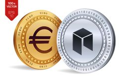 Neo Euro violento a metà contro vecchia priorità bassa monete fisiche isometriche 3D Valuta di Digital Cryptocurrency Le monete d Fotografia Stock Libera da Diritti