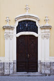 Neo ghotic carved door. Detail of a neo gothic building with carved doors Stock Photography