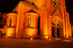 Neo-Gothic Catholic church during the night i Royalty Free Stock Photos