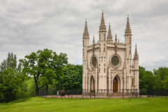 Neo-Gothic church in Alexandria Park, Peterhof, Russia. Very small neo-gothic church, looking more like a chapel, devoted to Alexander Nevsky and used as Romanov Royalty Free Stock Photo