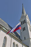 Neo Gothic Church of Saint Martin at Bled lake, Slovenia stock photography