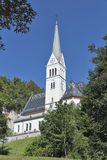 Neo Gothic Church of Saint Martin at Bled lake, Slovenia royalty free stock photography