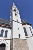 Neo Gothic Church of Saint Martin at Bled lake, Slovenia Stock Photo