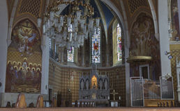 Neo Gothic Church of Saint Martin interior in Bled. Royalty Free Stock Image