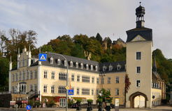 Neo-Gothic Palace. This Neo-Gothic palace, the Sayn Palace, is located in the German town of Bendorf in the state of Rhineland Palatinate. The ruins of the old Stock Image