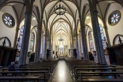 Neo Gothic Style Cathedral Interior. Gothic style interior of the Sao Pedro de Alcantara Cathedral Stock Photos