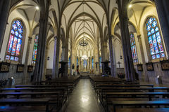 Neo Gothic Style Cathedral Interior. Gothic style interior of the Sao Pedro de Alcantara Cathedral Royalty Free Stock Photography
