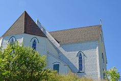 Neo-Gothic Style St George`s church in Brigus, NL Canada. Partial view of the historic 1876 neo-Gothic Style St George`s church in Brigus, Avanlon Peninsula NL royalty free stock photo