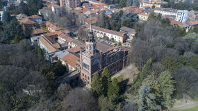 Neo-Gothic tower of Desio, panoramic view, aerial view, Desio, Monza and Brianza, Milan, Italy. Neo-Gothic tower of Desio, a former Franciscan monastery Royalty Free Stock Image