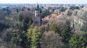 Neo-Gothic tower of Desio, panoramic view, aerial view, Desio, Monza and Brianza, Milan, Italy. Neo-Gothic tower of Desio, a former Franciscan monastery Stock Images