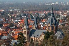Neo-gotisk kyrka i mitten av Heppenheim royaltyfri foto