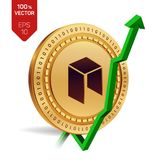Neo. Growth. Green arrow up. Neo index rating go up on exchange market. Crypto currency. 3D isometric Physical Golden coin isolate. D on white background. Vector Stock Photo