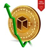 Neo. Growth. Green arrow up. Neo index rating go up on exchange market. Crypto currency. 3D isometric Physical Golden coin isolate. D on white background. Vector Royalty Free Stock Image