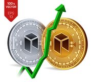 Neo. Growth. Green arrow up. Neo index rating go up on exchange market. Crypto currency. 3D isometric Physical Golden. And silver coins isolated on white Royalty Free Stock Photos
