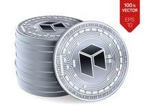 Neo isometrische körperliche Münzen 3D Digital-Währung Cryptocurrency Stapel Silbermünzen mit Neosymbol lokalisiert auf Weiß stock abbildung
