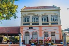 Neo-klassisk arkitekturbyggnad av den Phichit järnvägsstationen, den huvudsakliga järnvägsstationen av det Phichit landskapet Lok arkivbild