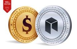 Neo Moneta del dollaro monete fisiche isometriche 3D Valuta di Digital Cryptocurrency Monete dorate e d'argento con lo symbo del  Fotografie Stock