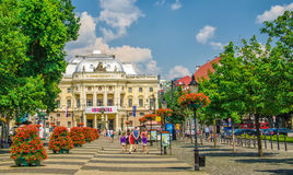 Neo-renaissance building of Slovak National Theater and Hviezdos Stock Photography