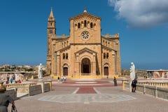 Neo romanesque catholic church. Ta Pinu, Malta. GHARB, GOZO, MALTA - AUGUST 22, 2017: The neo romanesque church of Ta Pinu is a Roman Catholic minor basilica and Royalty Free Stock Photo