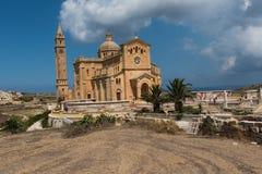 Neo romanesque catholic church. Ta Pinu, Malta. GHARB, GOZO, MALTA - AUGUST 22, 2017: The neo romanesque church of Ta Pinu is a Roman Catholic minor basilica and Royalty Free Stock Photos