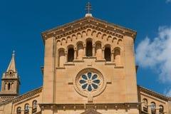 Neo romanesque catholic church. Ta Pinu, Malta. GHARB, GOZO, MALTA - AUGUST 22, 2017: The neo romanesque church of Ta Pinu is a Roman Catholic minor basilica and Stock Images