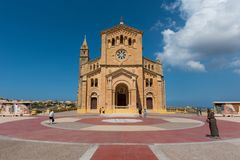 Neo romanesque catholic church. Ta Pinu, Malta. GHARB, GOZO, MALTA - AUGUST 22, 2017: The neo romanesque church of Ta Pinu is a Roman Catholic minor basilica and Royalty Free Stock Images