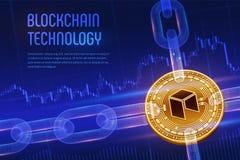 Neo Schlüsselwährung Block-Kette isometrische körperliche goldene Neomünze 3D mit wireframe Kette auf blauem Finanzhintergrund Bl Stockfoto