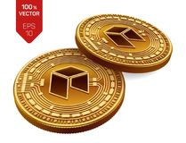 Neo Schlüsselwährung isometrische körperliche Münzen 3D Digital-Währung Goldene Münzen mit Neosymbol lokalisiert auf weißem Hinte Lizenzfreie Stockfotos