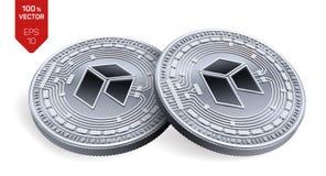 Neo Schlüsselwährung isometrische körperliche Münzen 3D Digital-Währung Silbermünzen mit Neosymbol lokalisiert auf weißem Hinterg lizenzfreie abbildung