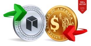 Neo till dollarvalutautbytet Neo härlig vektor för myntdollarillustration Cryptocurrency Guld- och silvermynt med Neo och dollars Vektor Illustrationer