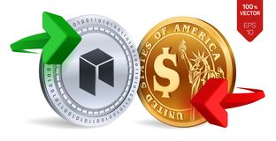 Neo to dollar currency exchange. Neo. Dollar coin. Cryptocurrency. Golden and silver coins with Neo and Dollar symbol with green a. Nd red arrows. 3D isometric Royalty Free Stock Image