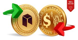 Neo to dollar currency exchange. Neo. Dollar coin. Cryptocurrency. Golden coins with Neo and Dollar symbol with green and red arro. Ws. 3D isometric Physical Royalty Free Stock Photos