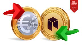 Neo to Euro currency exchange. Neo. Euro coin. Cryptocurrency. Golden coins with Neo and Euro symbol with green and red arrows. 3D. Isometric Physical coins royalty free illustration