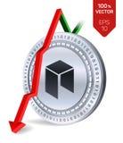 Neo upadek strzała puszka czerwień Neo wskaźnik ocena iść puszek na wekslowym rynku Crypto waluta 3D isometric Fizyczna Srebna mo ilustracji
