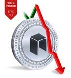 Neo upadek strzała puszka czerwień Neo wskaźnik ocena iść puszek na wekslowym rynku Crypto waluta 3D isometric Fizyczna Srebna mo ilustracja wektor
