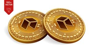 Neo Valuta cripto monete fisiche isometriche 3D Valuta di Digital Monete dorate con il simbolo neo isolate su fondo bianco La VE Immagine Stock
