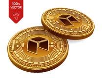 Neo Valuta cripto monete fisiche isometriche 3D Valuta di Digital Monete dorate con il simbolo neo isolate su fondo bianco La VE Fotografie Stock Libere da Diritti
