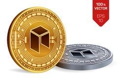 Neo Valuta cripto monete fisiche isometriche 3D Valuta di Digital Monete dorate e d'argento con il simbolo neo isolate sul BAC bi Immagine Stock