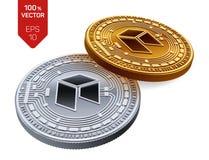 Neo Valuta cripto monete fisiche isometriche 3D Valuta di Digital Monete dorate e d'argento con il simbolo neo isolate sul BAC bi Fotografie Stock Libere da Diritti