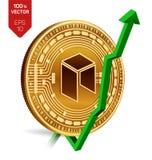 Neo wzrost zieleń strzała zieleń Neo wskaźnik ocena iść up na wekslowym rynku Crypto waluta 3D isometric Fizyczna Złota moneta od royalty ilustracja