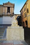 Neoclassic architecture and sculture in Conegliano Veneto, Treviso, Italy. Neoclassic architecture, street lamp, sculptures and the Accademy Theatre, in Piazza Royalty Free Stock Photos