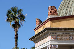 Neoclassic building, palermo. Detailed view of one of the neoclassic exedras of villa giulia gardens, with the acroteria shaped as greek theater masks, palermo Stock Photo